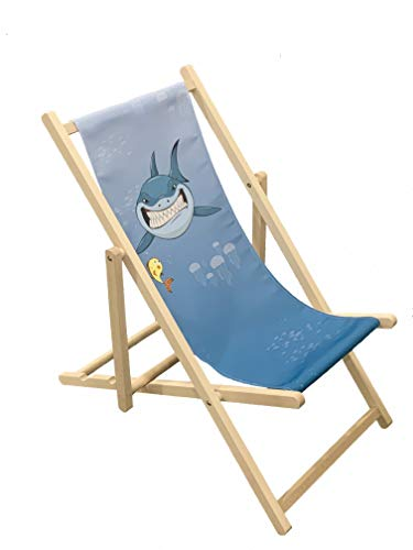 SHARK - Silla plegable de madera para niños al aire libre, jardín, patio, balcón, camping