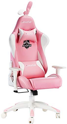 AutoFull Silla ergonómica Rosa para Juegos, Estilo Kawaii, Silla de Oficina de Piel sintética con Respaldo Alto y Orejas de Conejo y Cola