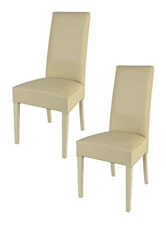Tommychairs - Set 2 sillas Luisa para Cocina, Comedor, Bar y Restaurante, solida Estructura en Madera de Haya y Asiento tapizado en Polipiel Arena