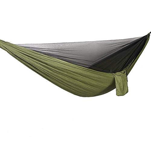 Bwiv Hamaca Ultraligera para Viaje y Camping Hamacas Colgantes Mosquiteras de Nylon Portátil Paracaídas Secado Rápido para Excursión Jardín de Carga 300 KG 290×140cm Musgo Verde