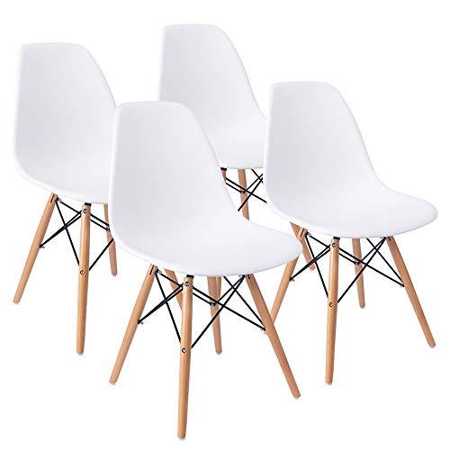 Furmax Juego de 4 sillas laterales de plástico para cocina, comedor, dormitorio, sala de estar, estilo premontado, estilo moderno DSW