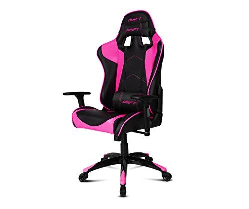 Drift DR300BK - Silla Gaming profesional, polipiel, reposabrazos 3D, piston clase 4, asiento basculante, altura regulable, respaldo reclinable, cojines lumbar y cervical, color negro/rosa