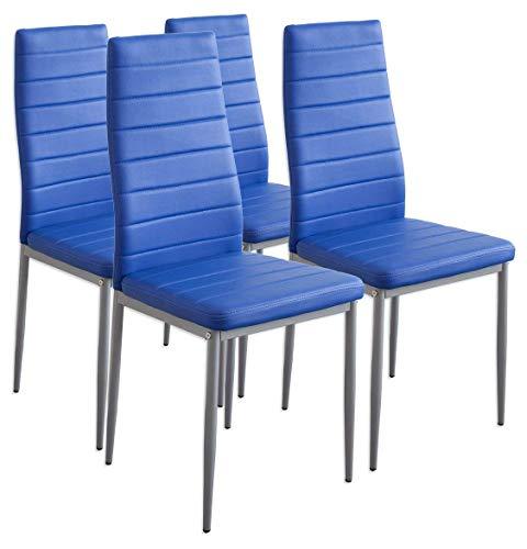 Albatros 2705 Milano Set de 4 sillas de Comedor, Azul