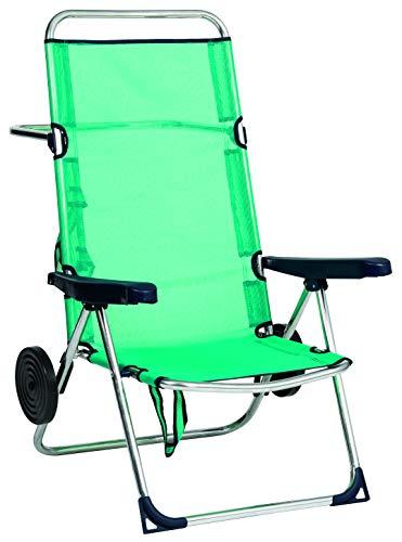Alco 670ALFRD-0030 Silla playa alta, fibreline, con rueda, Verde, 96x69.5x14 cm