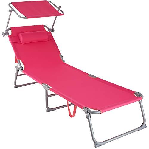 TecTake 800772 Tumbona de Playa con Parasol, Respaldo Ajustable 4 Posiciones, Reposacabezas Extraíble, Exterior Piscina Terraza Jardín (Rosa | No. 403419)
