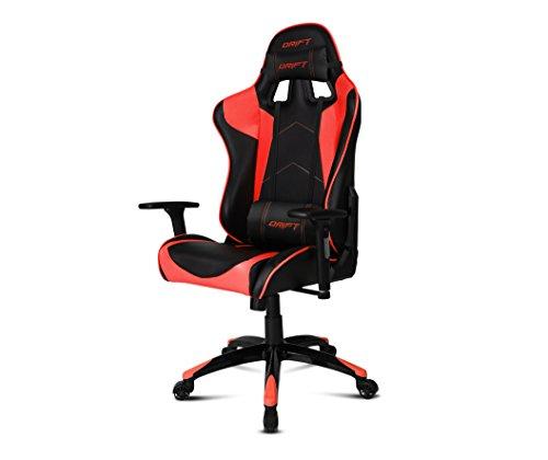 Drift DR300BR - Silla Gaming profesional, polipiel, reposabrazos 3D, piston clase 4, asiento basculante, altura regulable, respaldo reclinable, cojines lumbar y cervical, color negro/rojo