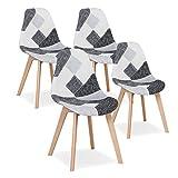 Uderkiny Juego de 4 sillas Silla de Comedor de Retazos Silla de Estilo nórdico para Cocina Comedor Sala de Estar y Restaurante (Gris)
