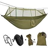 Sooair Hamaca Colgante, Camping Hamaca 260 * 140 cm 200 kg Capacidad de Carga Ultra Ligera Nylón de Paracaída Portátil y Transpirable, 2 mosquetones premium, 2 eslingas de nylon incluidas