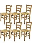 t m c s Tommychairs - Set 6 sillas Venice para Cocina y Comedor, Estructura en Madera de Haya Color Roble y Asiento en Paja