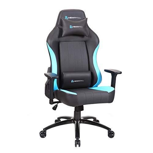 Newskill NS-CH-AKERON-BLUE Akeron - Silla gaming profesional con marco de acero reforzado (sistema de balanceo, reclinable hasta 180 grados, reposabrazos 3D) - Color Azul, mediano
