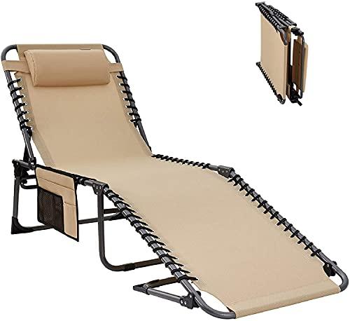 KingCamp Tumbona Plegable Portátil Reclinable con Almohada y Bolsillo Lateral Tumbona de Camping Transpirable Carga 120kg Ajustable en 4 Posiciones para Viajes de Acampada Jardín