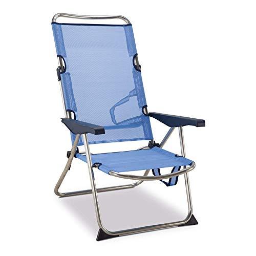 Solenny 50001072720118-Silla de Playa Cama Plegable 4 Posiciones Azul con Asas, 90x64x15 cm, 50001072720118