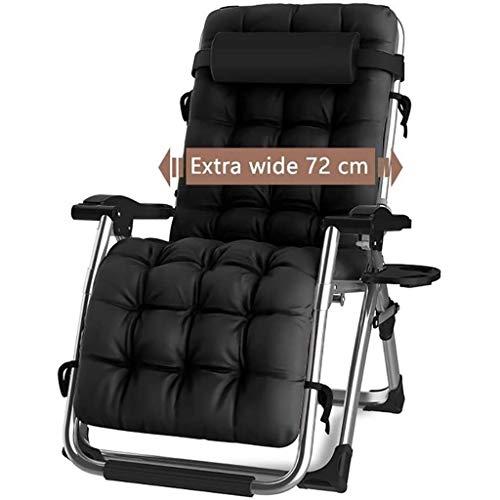DQCHAIR Silla reclinable para Actividades al Aire Libre con Gravedad Cero y portavasos, Silla Extra Ancha y Ajustable para tumbonas de Patio Garden Beach Beach, con Cojines de 200 kg (Black1)
