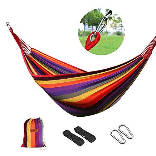 logei®Hamaca para Camping Excursión al Aire Libre Jardín Capacidad de Carga 150Kg, 200 * 100cm, Multicolor