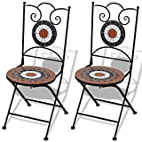 vidaXL Set 2 sillas Mosaico Asiento cerámica jardín terraza Terracota Blanco
