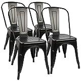 4 industrial retro metal comedor sillas moderna cocina taburete bar industrial interior exterior jardín antioxidable (negro)