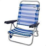 Aktive 53954 - Silla plegable multiposición, 5 posiciones, Silla de playa, 61x43x82 cm, altura del asiento 21 cm, silla aluminio, color azul y blanco, Aktive Beach