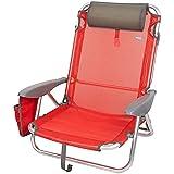 Aktive 62622 62622-Silla, cojín, Plegable, 67x67x76 cm, Silla de Playa reclinable, 4 Posiciones, Color Rojo, con asa de Transporte, Roja