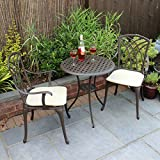 Bentley Garden - Set 3 Muebles de terraza - Mesa y 2 sillas - Aluminio Fundido